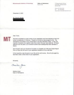 Acceptance letter form a university