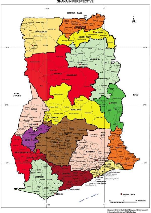 List of States in Ghana on Ghana map