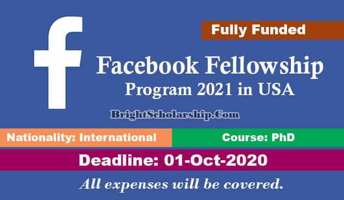 30 fully-funded PhD scholarships in the USA for International Students by Facebook