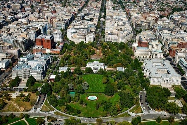 a bird's eye view of Washington, DC