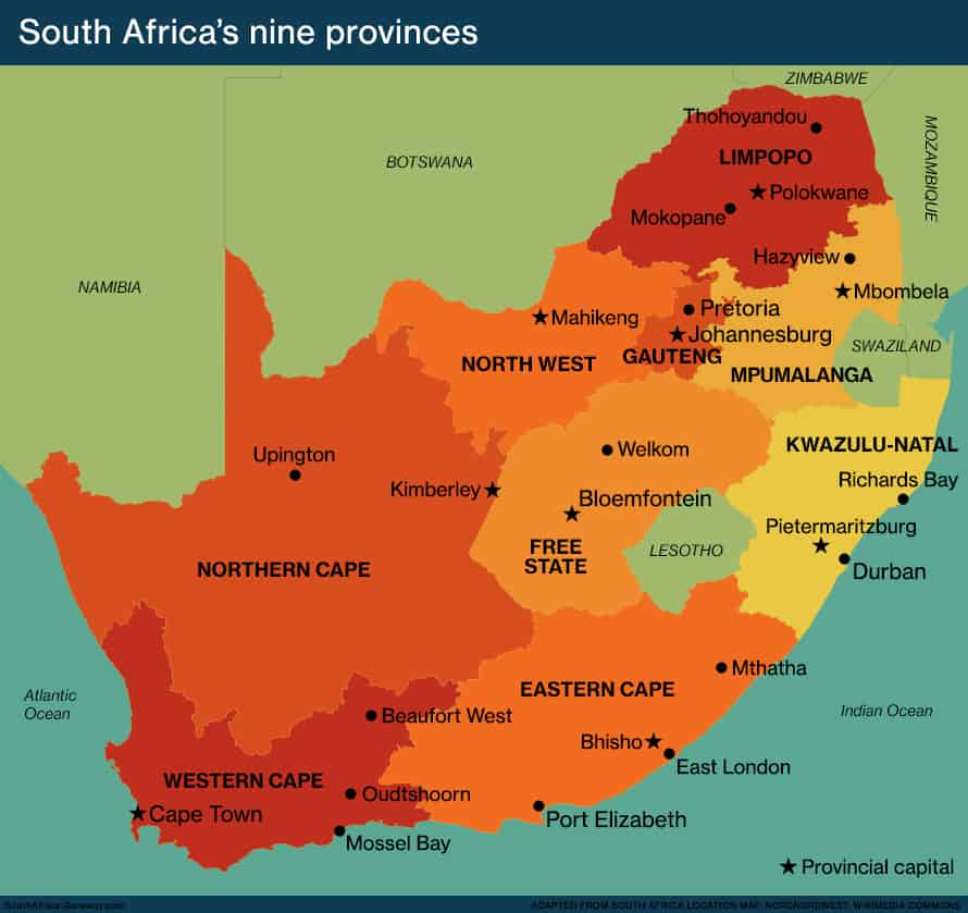 Map of South Africa showing the states in South Africa