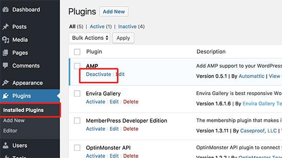 Deactivate google official AMP plugin